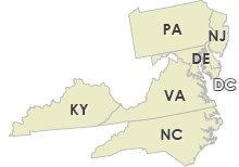 Virginia, Delaware, Maryland, Kentucky, New Jersey, Pennsylvania, North Carolina, Washington DC